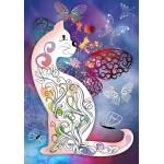 Puzzle  Grafika-01507 Le Chat et les Papillons