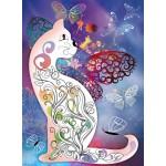 Puzzle  Grafika-01508 Le Chat et les Papillons