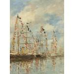 Puzzle  Grafika-01595 Eugène Boudin - Bassin de Yacht à Trouville, Deauville, 1895/1896
