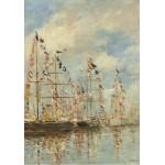 Puzzle  Grafika-01596 Eugène Boudin - Bassin de Yacht à Trouville, Deauville, 1895/1896