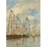 Puzzle  Grafika-01597 Eugène Boudin - Bassin de Yacht à Trouville, Deauville, 1895/1896