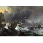 Puzzle  Grafika-01778 Ludolf Backhuysen : Ships in Distress off a Rocky Coast, 1667