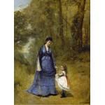 Puzzle  Grafika-01950 Jean-Baptiste-Camille Corot : Madame Stumpf et sa fille, 1872