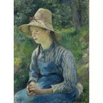 Puzzle  Grafika-02030 Camille Pissarro : Jeune Paysanne avec un Chapeau de Paille, 1881