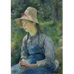 Puzzle  Grafika-02031 Camille Pissarro : Jeune Paysanne avec un Chapeau de Paille, 1881