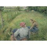 Puzzle  Grafika-02041 Camille Pissarro : Jeunes Paysannes se Reposant dans les Champs Près de Pontoise, 1882