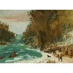 Puzzle  Grafika-02226 George Catlin : Campement de l'Expedition au-dessous des Chutes de Niagara. Le 20 janvier 1679, 1847