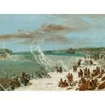 Puzzle  Grafika-02246 George Catlin : Portage Autour des chutes de Niagara à Table Rock, 1847-1848