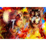 Puzzle  Grafika-02675 La Femme Indienne et le Loup