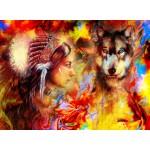 Puzzle  Grafika-02676 La Femme Indienne et le Loup