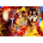 Puzzle  Grafika-02677 La Femme Indienne et le Loup