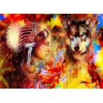 Puzzle  Grafika-02678 La Femme Indienne et le Loup