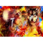 Puzzle  Grafika-T-00688 La Femme Indienne et le Loup