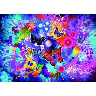 Puzzle Grafika-T-00742 Fleurs et Papillons Colorés