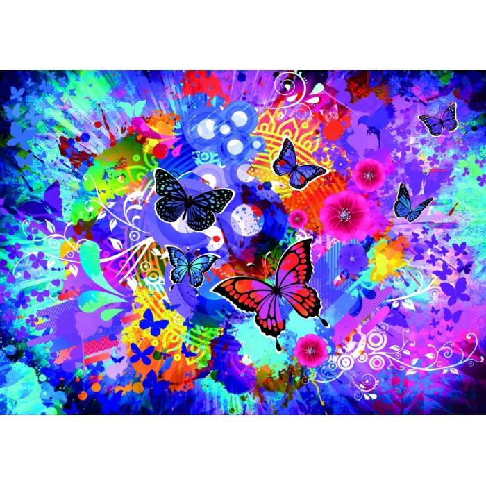 Fleurs et Papillons Colorés