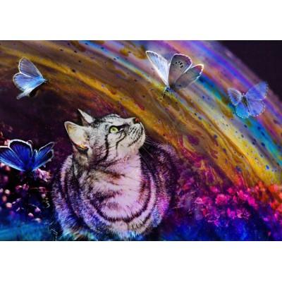 Puzzle Grafika-T-00858 Le Chat et les Papillons