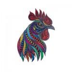 Harmandi-Puzzle-Creatif-90048 Puzzle en Bois - Le Coq Chanteur