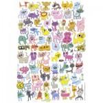 Puzzle  Heye-70168-29482 Jon Burgerman : Chats griffonnés