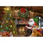 Puzzle  Jumbo-11311 Père Noël près de la Cheminée
