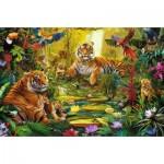 Puzzle  Jumbo-18525 Famille de Tigres dans la Jungle