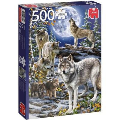 Puzzle Jumbo-18845 Meute de Loups en Hiver