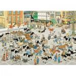Puzzle  Jumbo-19075 Jan Van Haasteren - Le Marché aux Bestiaux