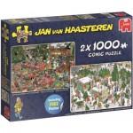 Jumbo-19080 2 Puzzles - Jan Van Haasteren - Réveillon de Noël