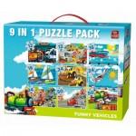 King-Puzzle-05520 9 Puzzles - Véhicules Rigolos