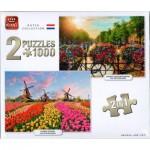 King-Puzzle-05810 2 Puzzles - Dutch Collection Sunrise Over Amsterdam & Zaanse Schans