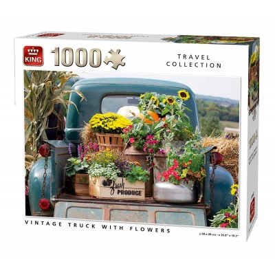 Puzzle King-Puzzle-55862 Vintage Truck with Flowers