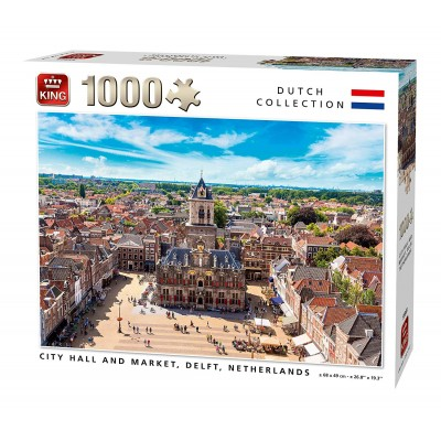 Puzzle King-Puzzle-55869 City Hall and Market, Delft, Netherlands