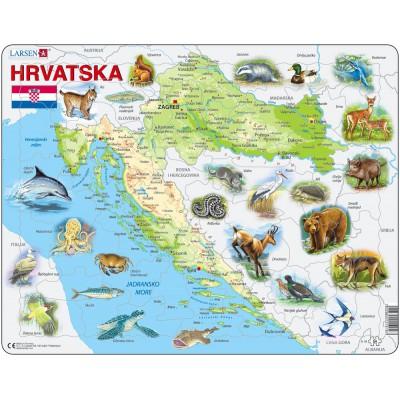 Larsen-A19-HR Puzzle Cadre - Carte de la Croatie et de ses Animaux (en Croate)