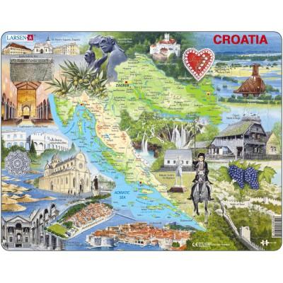 Larsen-A21-GB Puzzle Cadre - Carte de la Croatie et ses Centre d'intérêts (en Anglais)