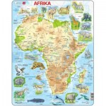 Larsen-A22-DE Puzzle Cadre - Carte de l'Afrique et ses Animaux (en Allemand)