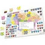 Larsen-A3-LT Puzzle Cadre - Carte de la Lituanie (en Lituanien)