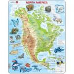 Larsen-A32-GB Puzzle Cadre - Carte de l'Amérique du Nord et ses Animaux (en Anglais)