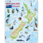 Larsen-A4-GB Puzzle Cadre - La Nouvelle Zélande et ses Animaux (en Anglais)