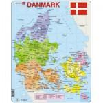 Larsen-A6-DK Puzzle Cadre - Carte du Danemak (en Danois)