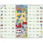 Larsen-EN10-GB Puzzle Cadre - Apprendre l'Anglais 10 : Les Secours en Mots et en Phrases (en Anglais)