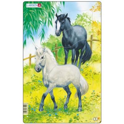 Larsen-H15-1 Puzzle Cadre - Chevaux Blanc et Noir