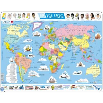 Larsen-K1-DE Puzzle Cadre - Carte du Monde (en Allemand)