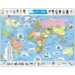 Larsen-K1-RU Puzzle Cadre - Carte du Monde (en Russe)