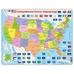 Larsen-K12-RU Puzzle Carte - Carte des Etats-Unis (en Russe)