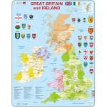Larsen-K18-GB Puzzle Cadre - Carte du Royaume Uni (en Anglais)