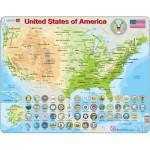 Larsen-K36-GB Puzzle Cadre - Carte des Etats-Unis (en Anglais)