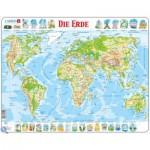 Larsen-K4-DE Puzzle Cadre - Carte du Monde (en Allemand)