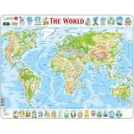 Larsen-K4-GB Puzzle Cadre - Carte du Monde (en Anglais)