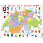 Larsen-K43-V1 Puzzle Cadre - Carte de la Suisse