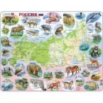 Larsen-K50-RU Puzzle Cadre - Carte de la Russie et ses Animaux (en Russe)