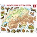 Larsen-K51-V1 Puzzle Cadre - Carte de la Suisse